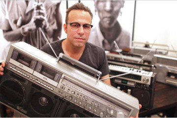 yle Owerko, boombox collector, at his studio in TriBeCa