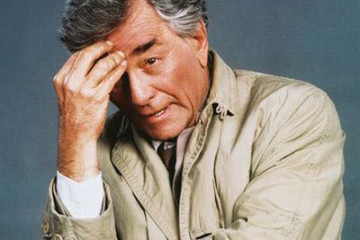 Peter Falk in character for the much loved show Columbo