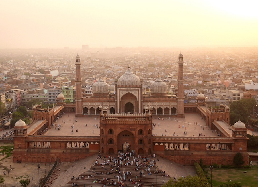 Jama Masjid, the heart of Islam in India. The red sandstone structure was built under the orders of the same Mughal emporer of Taj Mahal fame.