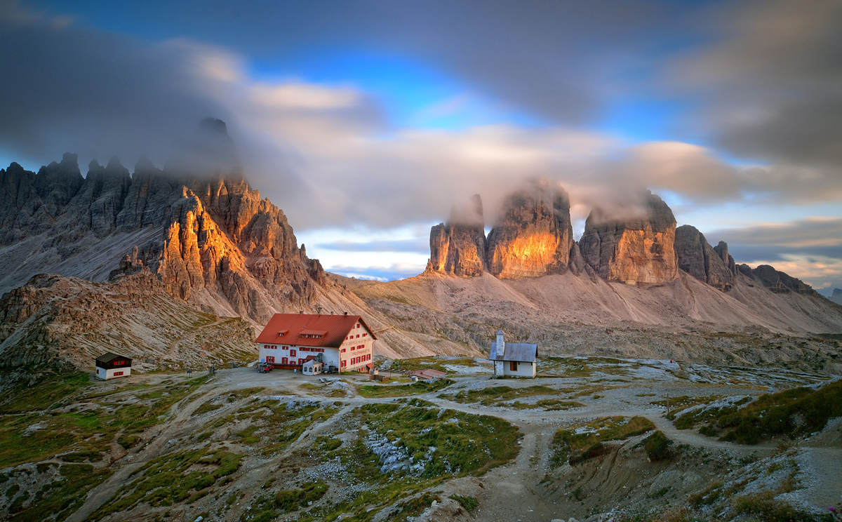 The picture was taken near Three Peaks refuge, located in the heart of the Dolomiti di Sesto, Italy. I used a graduated neutral density in combination with a neutreal density filter to extend the exposure time up to 66 seconds.