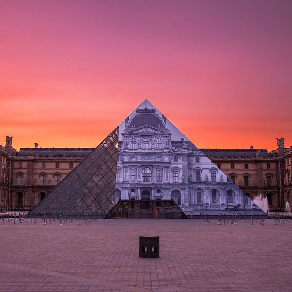 Artist JR makes the iconic Louvre pyramid disappear_02
