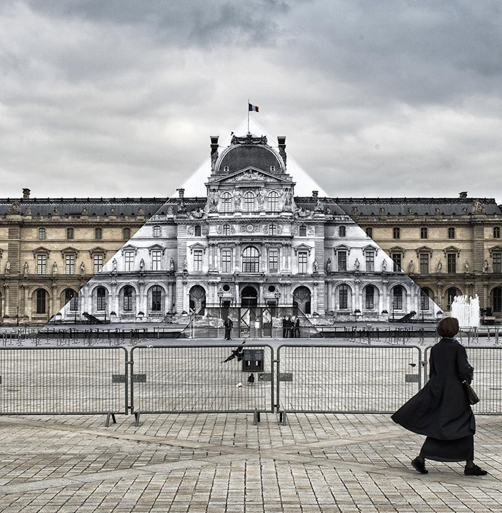 Artist JR makes the iconic Louvre pyramid disappear_04