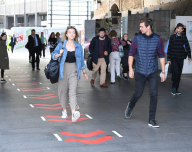 EDITORIAL USE ONLY Commuters use LondonÕs first marked pedestrian fast-lane, launched today by Direct Line to allow commuters to reach their destinations of work quicker, Waterloo, London. PRESS ASSOCIATION Photo. Picture date: Thursday September 22, 2016. Photo credit should read: Anthony Devlin/PA Wire